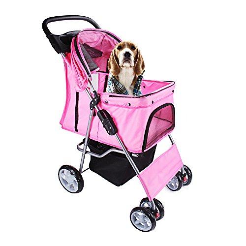 display4top Pet Travel Stroller Dog Cat Pushchair Pram Jogger Buggy With 4 Wheels (Pink)