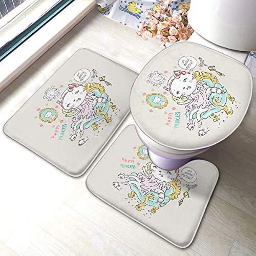 Set tappetini da bagno Set da 3 pezzi Simpatico gatto Principessa Telefono La poltrona Pesce dorato Slogan Baby Fashi Cuscinetti antiscivolo Tappetino da bagno