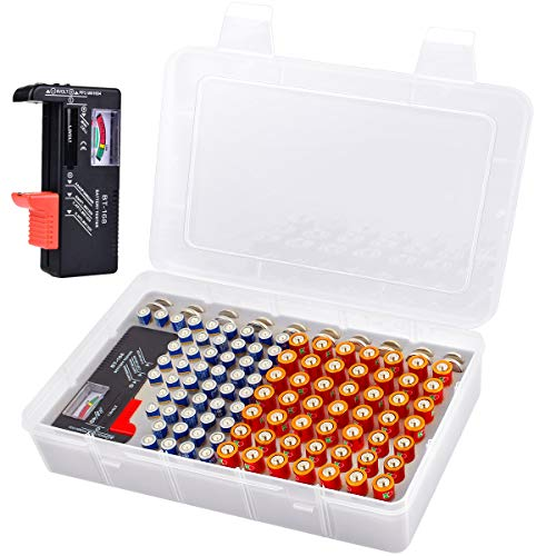 Battery Storage Organizer Box with Battery Tester, Garage Batteries Caddy Case Holder Container Holds 120+ Batteries AA AAA Lithium 3V CR123 LR44 CR2016 CR1632 CR2032 CR2025 (Batteries Not Include)