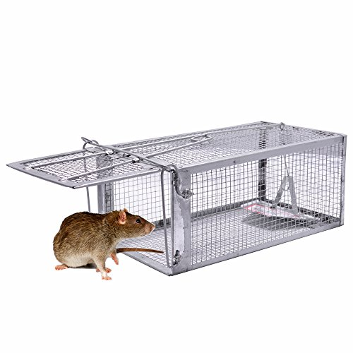 JGRZF Quality Rat Trap, Humane Live Animal Mouse Cage Traps, Catch and Release Mice, Rats,Chipmunk, Pests, Rodents  and Similar Sized Pests for Indoor and Outdoor, 10.6 X 5.63 X 4.33 Inches, One-Door