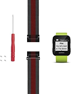 C2D JOY Compatible with Garmin Forerunner 30 and 35 Replacement Band with Screw and Screwdriver, Fashion watchband for Daily wear Soft, Breathable Metal Weave - Medium/Large