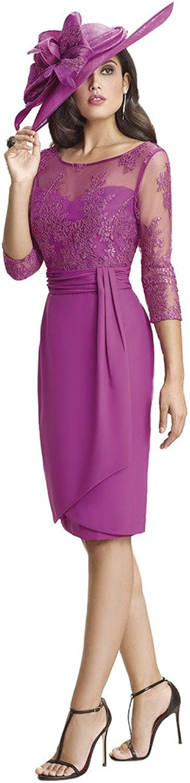 Kelaixiang Purple 3 4 Sleeves Knee Length Mother of The Bride Dress