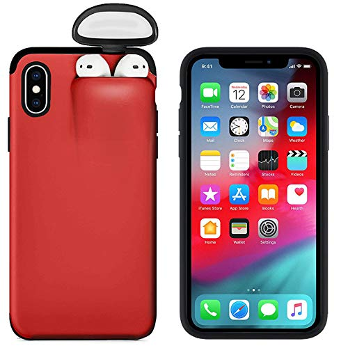 2 in 1 Case Compatible with iPhone 8 Plus and Airpods, Ultra Slim Liquid Silicone Gel Rubber Case Hard Shell Shockproof Protective Cover for iPhone 8 Plus with Wireless Headset Set Protection