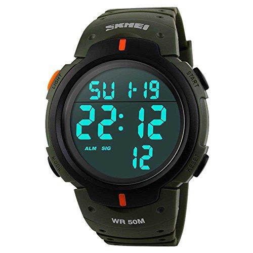 Relógio masculino digital esportivo com tela de LED, mostrador grande, militar, impermeável, casual, luminoso, cronômetro, alarme, simples relógio militar, Verde militar