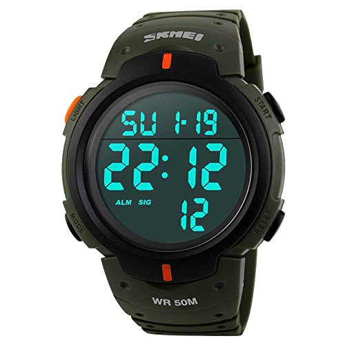 Skmei Casual Sports Digital LED Watch Military Multifunctional Wristwatch Water Resistant Army Green