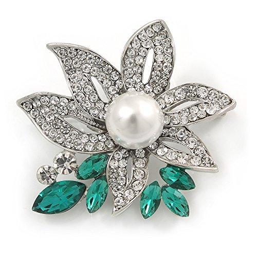 Avalaya impresionante broche de perlas de imitación de cristal transparente/verde en metal chapado en rodio – 45 mm L