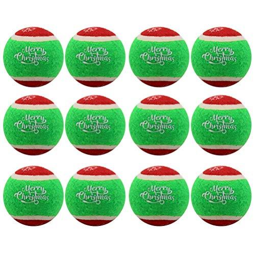 Homimp Hundespielzeug Tennisball, quietschend, Schneeflocke, interaktives Spielzeug für Welpen, Rot und Grün, 12 Stück