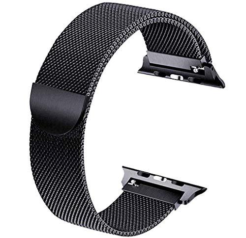 Tervoka Ersatzarmband kompatibel mit Apple Watch Armband 40mm 38mm, Metal Edelstahl Armband mit Magnet kompatibel mit iWatch Series 6/5/4/3/2/1, Schwarz