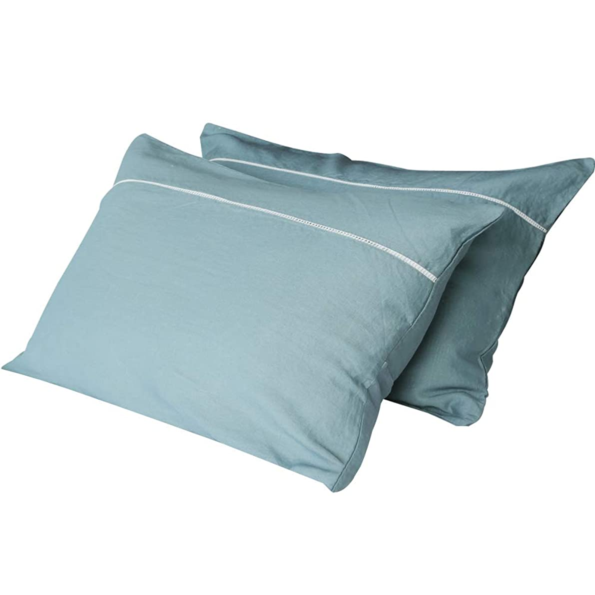 AVEYAL Premium Pillowcase Set Pure Linen Pillow Cases with Hidden Zipper Luxury Hotel Quality Pillow Covers Natural Flax(Set of 2 Queen Size, Lake Blue)