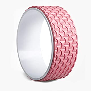 Fitness Circles Yoga Wheel Back Bend Artifact Open Back Yoga Stovepipe Yoga Wheel Home Yoga Circle Widened Yoga Dharma Wheel Particle Design Yoga Equipment (Color : Pink, Size : 13 * 32cm)