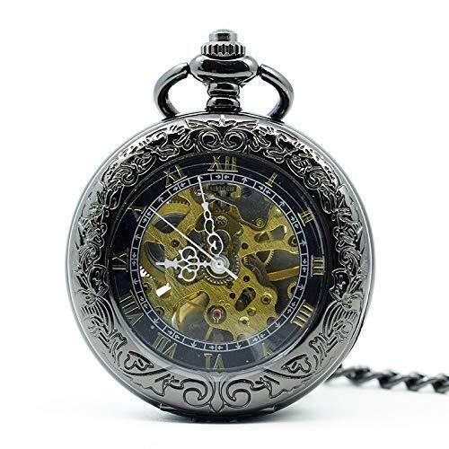 Huaib Reloj de Bolsillo Relojes de Bolsillo, Relojes de los Hombres, Collares Punky del Vapor del Hueco del Estilo Reloj de Bolsillo mecánico del Reloj Reloj Clamshell