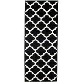 Carpeto Rugs Teppich Läufer Flur - Orientalisch Teppichläufer - Kurzflor, Weich - Flurläufer für Wohnzimmer, Schlafzimmer - Teppiche - Meterware - Schwarz - 70 x 150 cm