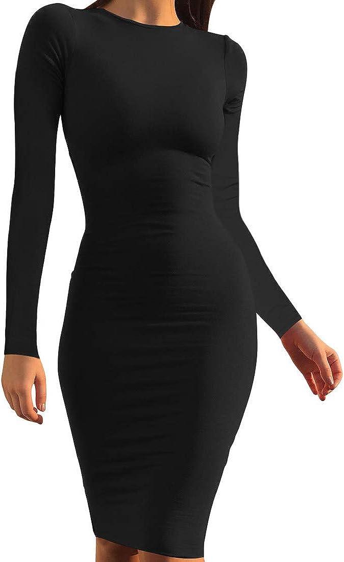 Mokoru Women's Casual Basic Pencil Long Sexy Sleeve Bodyco Sacramento Manufacturer direct delivery Mall Dress