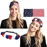 COMPREHENSIVE SET. Our 4th of July accessories set includes a US flag-themed headband, and a flower headband with 9 flowers. Celebrate with style! UNIQUE DESIGN & EASY TO USE. Show off American pride with our flag headband and flower headband! They'r...