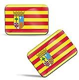 Biomar Labs® 2 x 3D Gel Pegatinas Siliconas Comunidad de España Aragón Bandera Emblema Aragonesa Español Stickers Zaragoza Spain Flag Adhesivos Auto Coche Moto Bicicleta Ordenador F 87