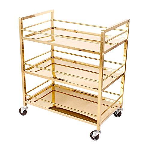 ZUQIEE Carro para servir carrito, carrito industrial de bar con ruedas para el hogar de metal y carrito de almacenamiento de cocina, 3 estantes (color: titanio dorado, tamaño: 74 x 45 x 88 cm)