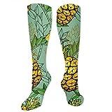 Piñas y hojas personalidad divertido patrón de moda calcetines de hombre y mujer calcetines de poliéster algodón vestido calcetines longitud 19,68 pulgadas mejor transpirabilidad suave y cómodo