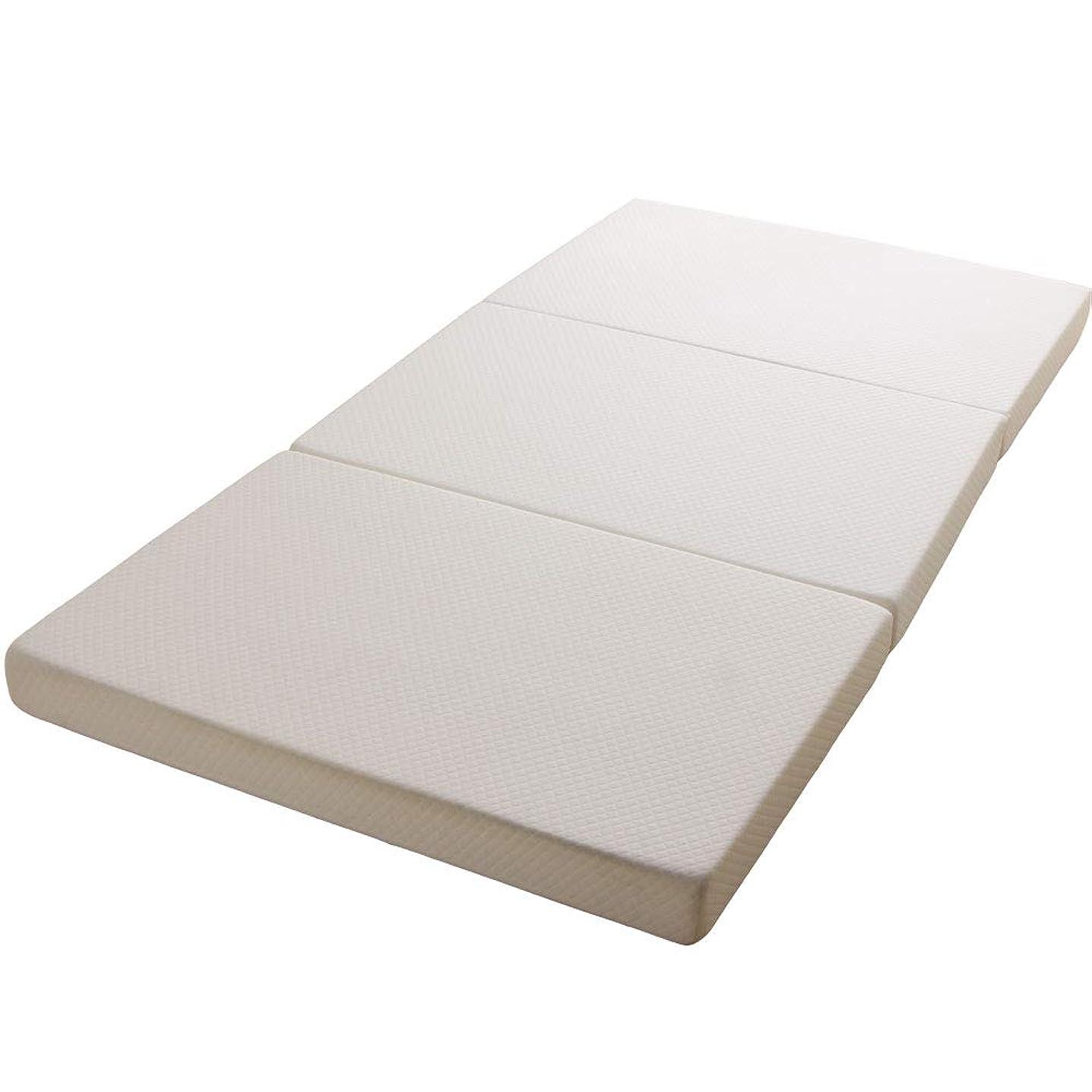 ミスしゃがむに同意するアイリスプラザ マットレス ホワイト セミダブル 10cm三折りフラット25D KUM3-F10-25D-SD