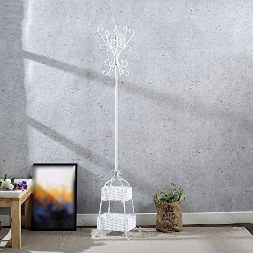 RSWLY Perchero de hierro forjado europeo, perchas de suelo, perchas de dormitorio, percheros multifuncionales para el hogar (color: blanco)