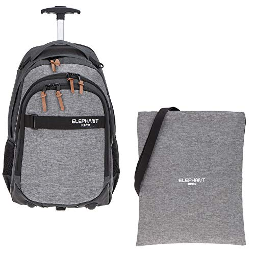 2 Teile Set: Elephant Trolley Hero Signature Trolleyrucksack Schultrolley 12724 + Sportbeutel (Two Tone Grey (grau/anthrazit))