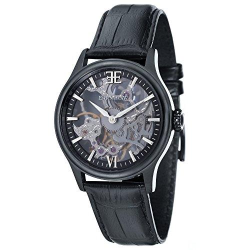 Thomas Earnshaw Bauer Shaddow ES-8061-05 mechanisch herenhorloge, zwarte wijzerplaat met skeletweergave, zwart lederen armband