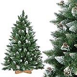 FairyTrees Sapin de Noël Artificiel, Pin Naturel Enneigé avec Pommes de pin naturels, Matériel PVC, Socle en Bois, 180cm, FT04-180