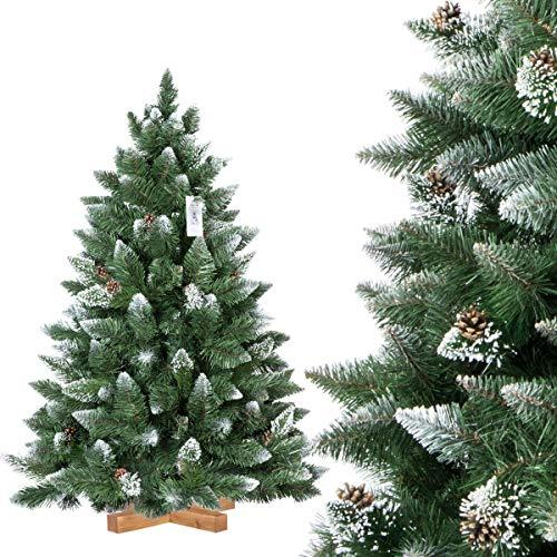 FairyTrees Pino Naturale con Punte innevate, Albero di Natale Artificiale, PVC, pigne Naturali, Supporto in Legno, 120cm