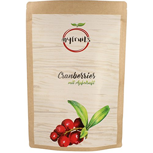 myfruits® Cranberries mit Apfelsaft, getrocknet, ohne raffinierten Zucker. Perfekt für Müsli, Joghurt oder Salate (1 kg Big Pack)