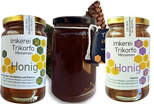 ARISTOS Honig Set | 4 Gläser griechischer Honig | Pinien Honig | Thymianhonig | Zitrusblüten Honig | Gemischter Honig | Honig Geschenkset | Zusammen 1830 g