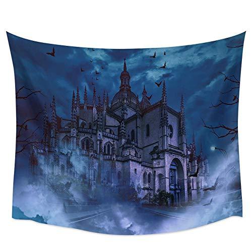 Bdhbeq Castle Horror Gloomy Dark Bat Tapiz de Pared Cubierta Toalla de Playa decoración del hogar130x150cm