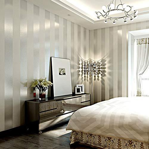 LXPAGTZ Einfache moderne Vlies-Tapete Schlafzimmer Wohnzimmer  vertikalen Streifen  Östliches Mittelmeer Wand Tapete lange 9.5 m * Breite 0,53 m (5 m ²) , 11083 white silver