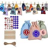 Keemov DIY 24 Calendario de Adviento Bolsa de Tela Set de Arpillera Bolsas de Embalaje de Arpillera, Bolsas de Cordón de Color Mixto de Navidad Yute Arpillera Bolsas de Regalo