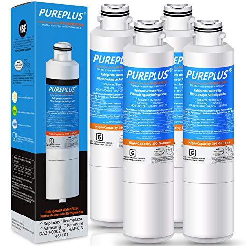PUREPLUS DA29-00020B Replacement for Samsung RF28HMEDBSR, RF263BEAESR, HDX FMS-2, HAF-CIN/EXP, RF4287HARS, PL-200, RFG297HDRS, RF28HFEDBSR, DA97-08006A 469101 RWF0700A Refrigerator Water Filter, 4PACK