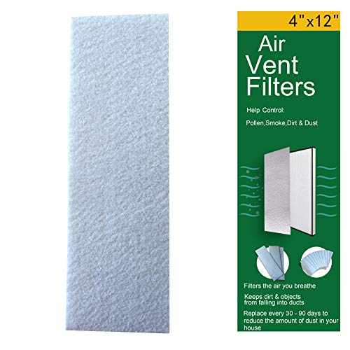 12-Pack Air Vent Filters 4'x12' -Vent Register Filters-AC Unit or Heater Vent Filters for Indoor Filtration, Dust Control, Reduce Dust, Dirt, Smoke and Pollen Size Particles,White