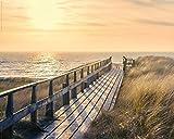 Poster Steg am Strand - Sonnenuntergang über dem Meer -