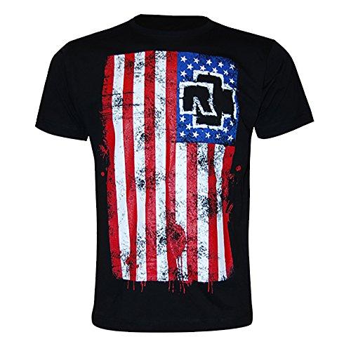 Rammstein Rammstein Herren T-Shirt Amerika Offizielles Band Merchandise Fan Shirt schwarz mit mehrfarbigem Front und Back Print (M, Schwarz)
