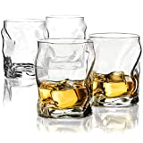 Double Old-Fashioned Whiskey Glasses (Set of 4) Whiskey Glass Set, 14¼-Ounce Crystal-Clear Cocktail Glasses Barware For Whisky, Bourbon, Scotch, Water, Juice, Rock Glasses Drinking Glasses Set.