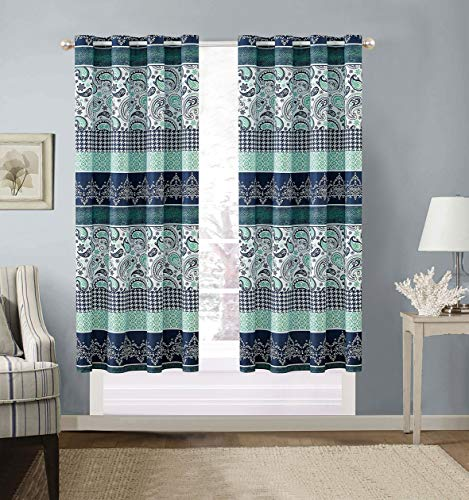 Modern 2 - Piece Printed Grommet Curtain Set Drapes/Window Panels 108 inch Wide X 63 inch Long (Navy Blue Paisley)