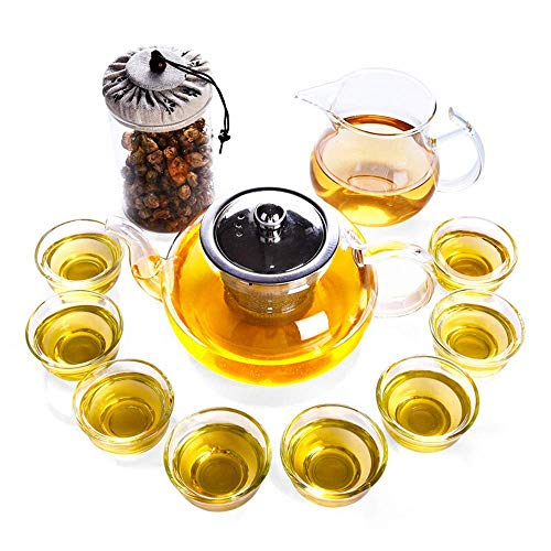 Xingyu Tee-Set, hitzebeständig, 8 kleine Glas-Teetassen, Teesieb, lose Blätter, Teekanne, 11 Stück, klares Glas, farblos, 11pcs