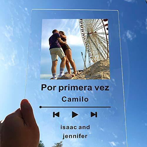 Álbum de Spotify personalizado Tablero de música de acrílico SpotifyGlass personalizado Mini Polaroid Photo Style Placa de álbum de fotos de acrílico de aniversario Placa de música personalizada