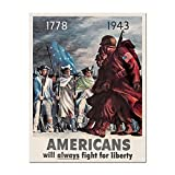 Joycenie Great Metal Sign Americans Fight for Liberty Patriotic WWII Military Sign for Home Decor Wall Decoration Indoor and Outdoor 8x12 Inch