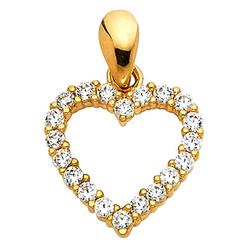 14k REAL Yellow Gold CZ Open Heart Charm Pendant