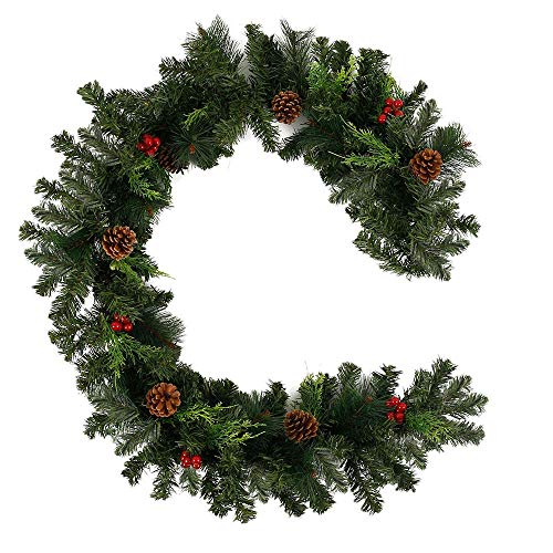CJFHBVUQ Pre-Lit Christmas Wreath Decoration with Light Stairs Fireplaces Artificial Wreath with Pine Cone Baubles For Indoor Outdoor Festive Wedding Party Christmas Tree Decorations 60cm Garland
