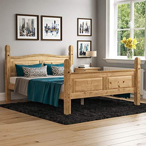 Home Discount Corona King Size, 5 ft, Hoher Fußteil Bett Rahmen Massiv Distressed Gewachst Kiefer Holz Mexikanischen Schlafzimmer Möbel, H 117 x B 164 x T 217 cm