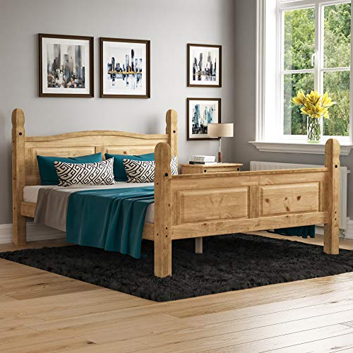 Vida Designs Corona King Size Bed, 5 ft, High Foot End Bed Frame, Solid Pine Wood