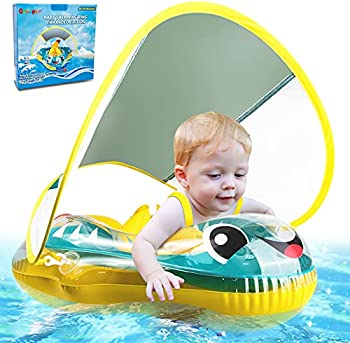 Qrooper Inflatable Baby Pool Float Ring with Sun Protection Canopy