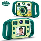 "PROGRACE Kids Camera Dual Selfie Camera 1080P HD Video Recorder Digital Action Camera Camcorder for Boys Girls Gifts 2.0"" LCD Screen with 4X Digital Zoom and Funny Game(Green)"
