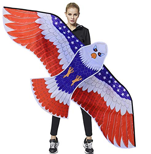 """HONBO Huge Patriotic Eagle Kites for Adults and Kids,Easy to Fly for Beach Trip, Outdoor Activities-Wingspan 73""""-200ft Line with Swivel---2 Long Bonus Tails---Bonus Durable Polyester Bag"""