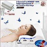 Coppia Cuscini Memory Foam Cervicale Traspiranti | Alta Qualità Offerta LAUNEN TIROL + Federa Lavabile Igienizzante | Guanciale Letto per dormire Contro Dolore al Collo (cm.70x40 h10-12) 2 Ortopedici