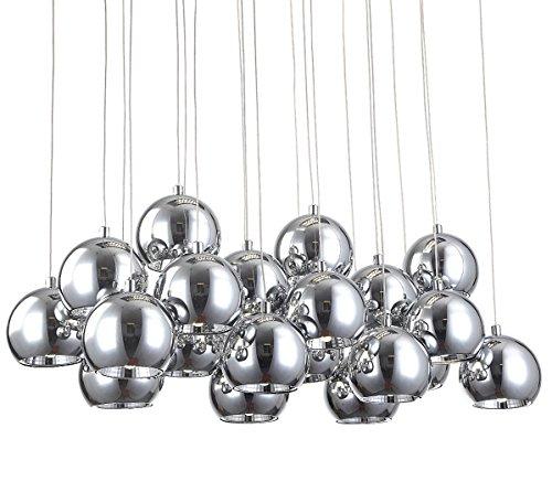 XL Led cromo palla lampadario sospensione lustra soffitto luce design lusso moderno 70x25cm 40W Lewima Amalia